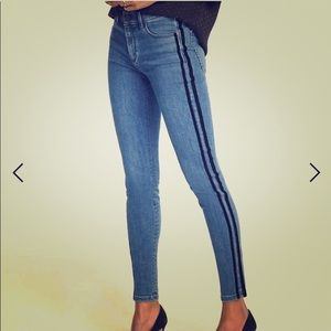 Ann Taylor Velvet Stripe Skinny Jeans